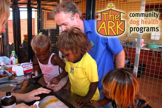 Dr Stephen Cutter treating a dog in a remote indigenous community with helpers.